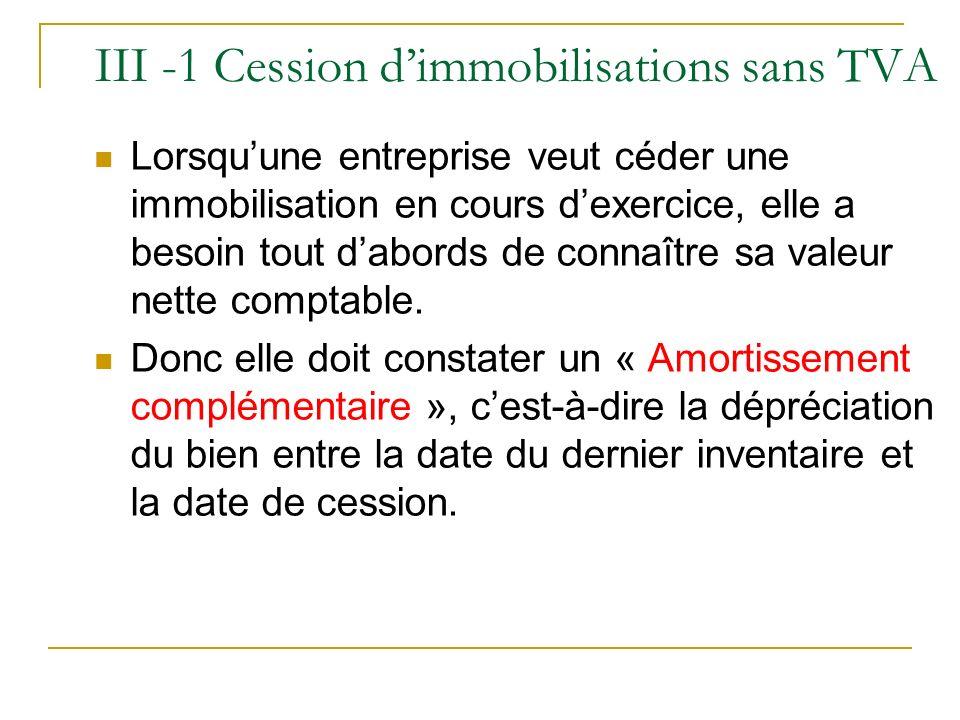 III -1 Cession dimmobilisations sans TVA Lorsquune entreprise veut céder une immobilisation en cours dexercice, elle a besoin tout dabords de connaîtr