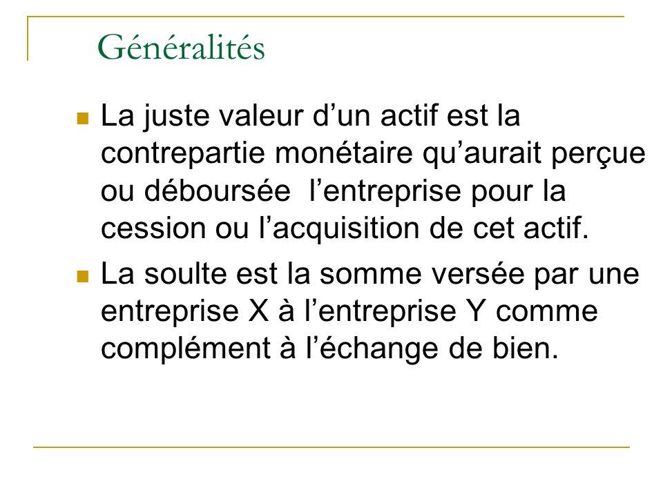 Généralités La juste valeur dun actif est la contrepartie monétaire quaurait perçue ou déboursée lentreprise pour la cession ou lacquisition de cet ac