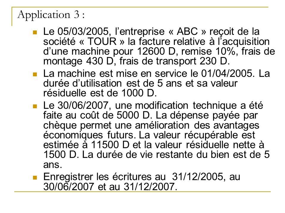 Application 3 : Le 05/03/2005, lentreprise « ABC » reçoit de la société « TOUR » la facture relative à lacquisition dune machine pour 12600 D, remise