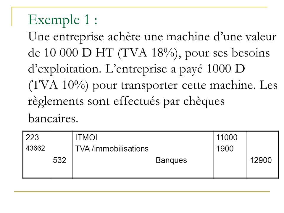Exemple 1 : Une entreprise achète une machine dune valeur de 10 000 D HT (TVA 18%), pour ses besoins dexploitation. Lentreprise a payé 1000 D (TVA 10%