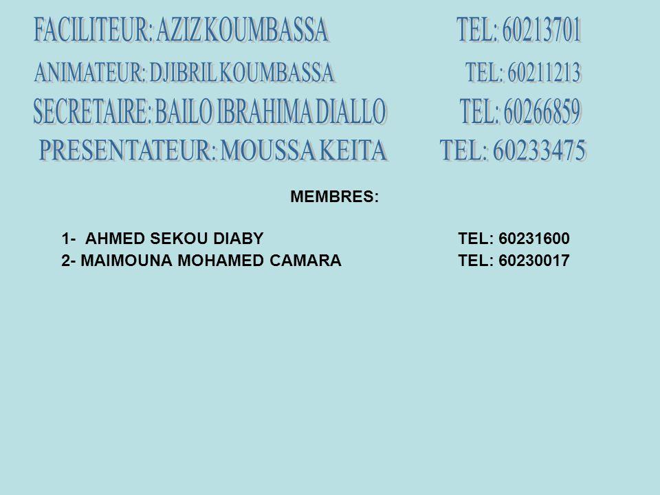 MEMBRES: 1- AHMED SEKOU DIABYTEL: 60231600 2- MAIMOUNA MOHAMED CAMARATEL: 60230017