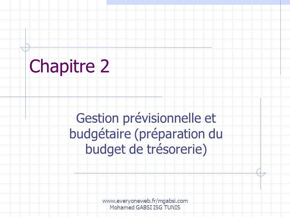 www.everyoneweb.fr/mgabsi.com Mohamed GABSI ISG TUNIS Chapitre 2 Gestion prévisionnelle et budgétaire (préparation du budget de trésorerie)