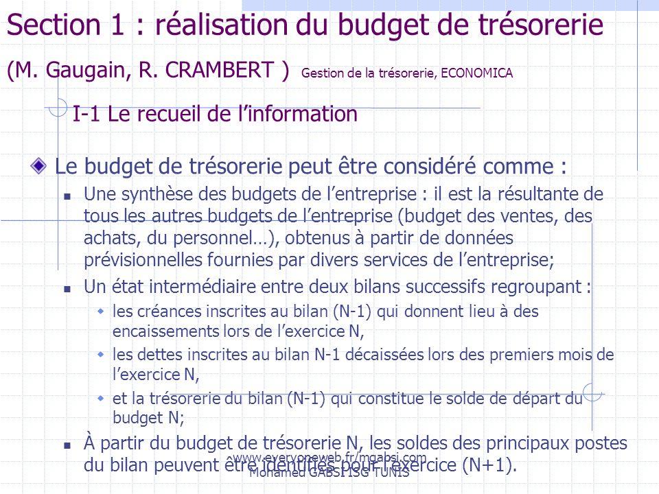 www.everyoneweb.fr/mgabsi.com Mohamed GABSI ISG TUNIS Section 1 : réalisation du budget de trésorerie (M. Gaugain, R. CRAMBERT ) Gestion de la trésore