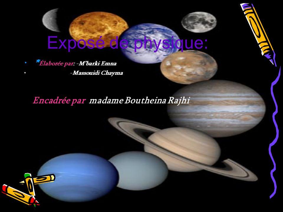 Exposé de physique: * Élaborée par: -Mbarki Emna -Massouidi Chayma Encadrée par: madame Boutheina Rajhi