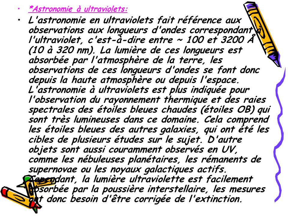 *Astronomie à ultraviolets: L'astronomie en ultraviolets fait référence aux observations aux longueurs d'ondes correspondant à l'ultraviolet, c'est-à-