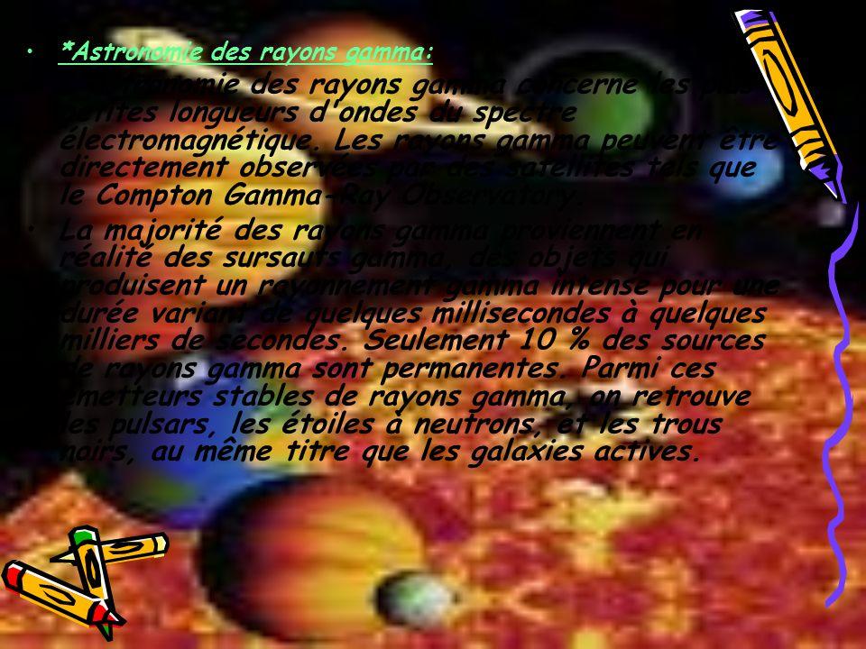 *Astronomie des rayons gamma: L'astronomie des rayons gamma concerne les plus petites longueurs d'ondes du spectre électromagnétique. Les rayons gamma