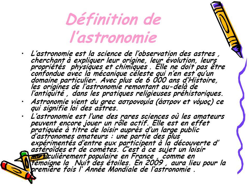 Lastronomie se divise en plusieurs branches : lastronomie, étude fondée sur lobservation de ces corps, la mécanique céleste, étude mathématique de leurs mouvements dans le cadre de la théorie de la gravitation, lastrophysique étude des composants chimiques et les conditions physique.