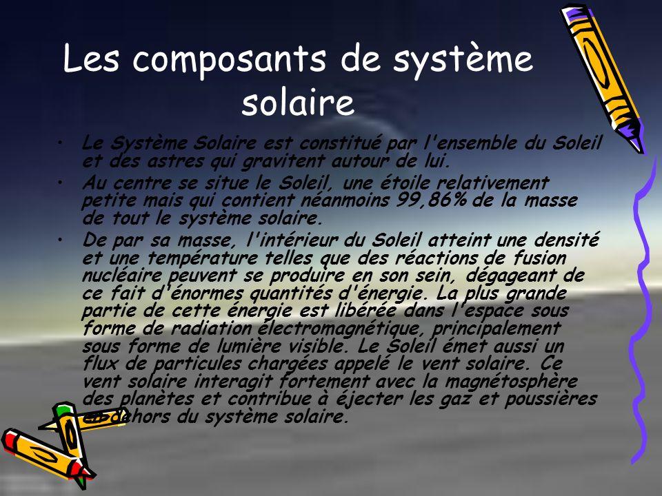 Les composants de système solaire Le Système Solaire est constitué par l'ensemble du Soleil et des astres qui gravitent autour de lui. Au centre se si