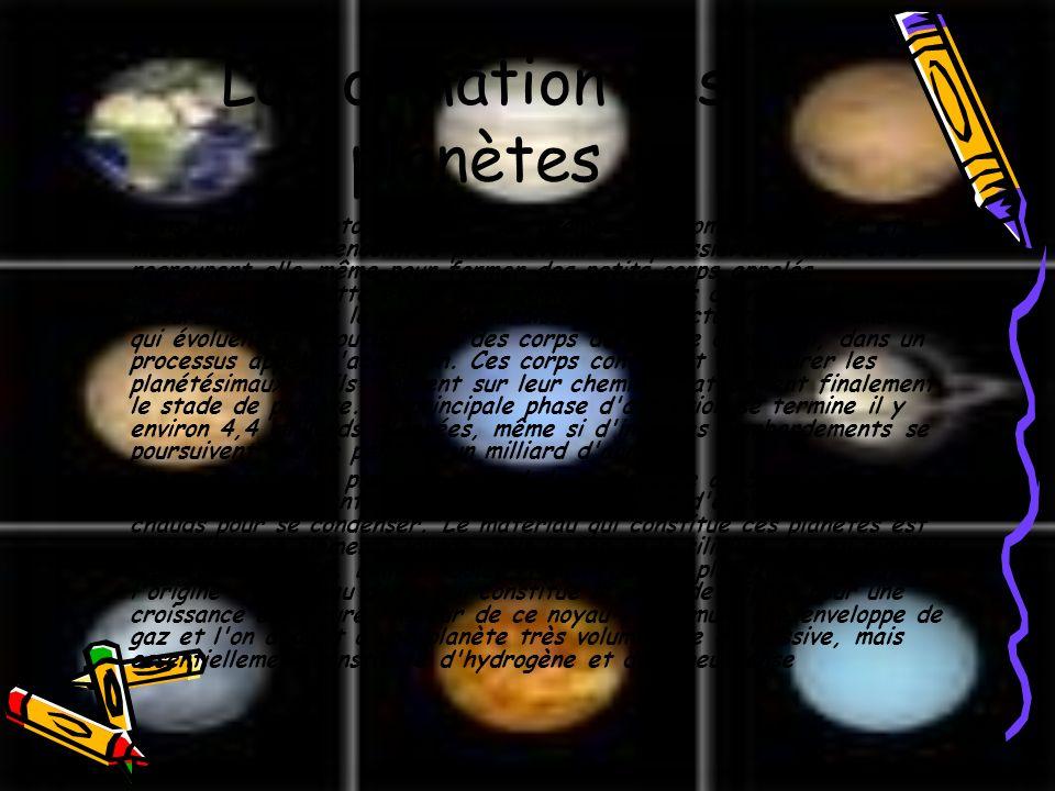 La formation des planètes Dans le disque protoplanétaire, les atomes s'agglomèrent au fur et à mesure de leurs rencontres pour devenir des poussières.