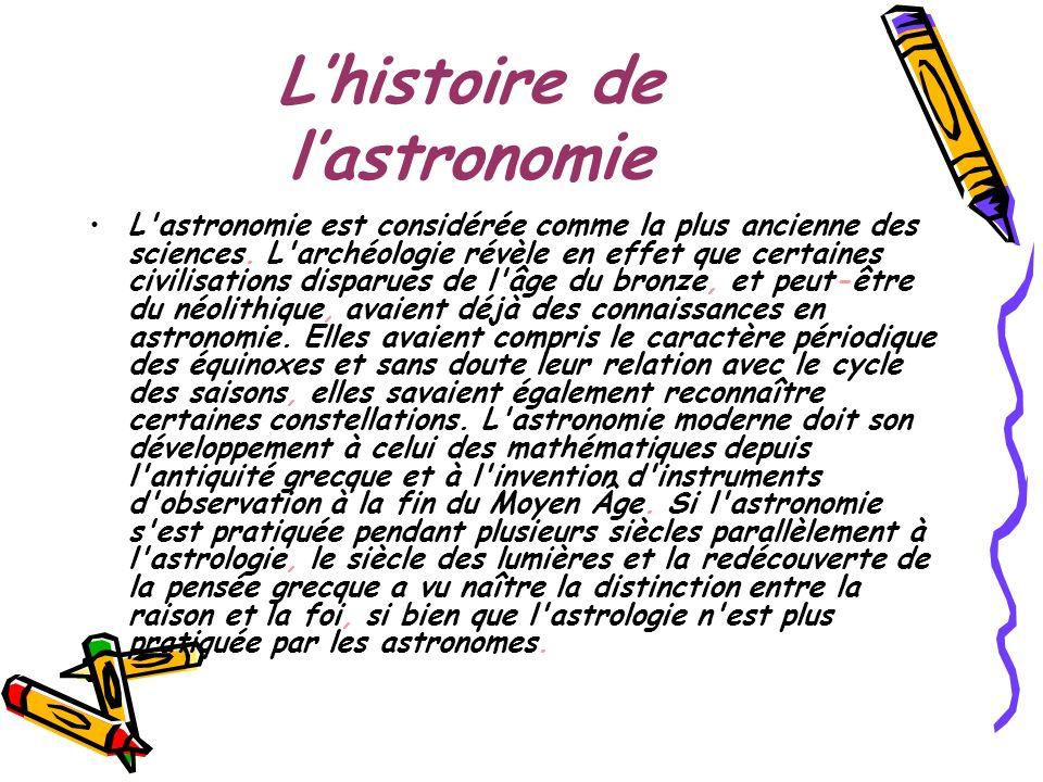 Lhistoire de lastronomie L'astronomie est considérée comme la plus ancienne des sciences. L'archéologie révèle en effet que certaines civilisations di