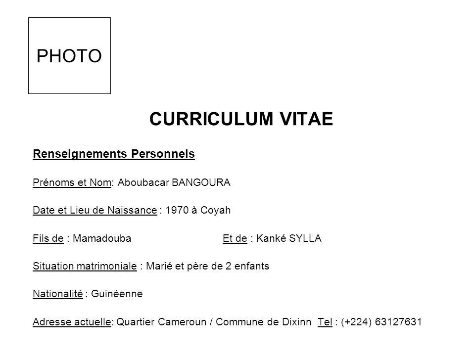 FORMATION Études Primaires 1976 - 1982 : École Primaire de Coyah Centre Diplôme Obtenu : CEPE Études Secondaires 1982 – 1985 : Collège de Boulbinet (Conakry) Diplôme Obtenu : Brevet (BESCT) 1985 – 1988 : Lycée de Boulbinet (Conakry)Diplôme Obtenu : Bac Unique EXPERIENCES PROFESSIONNELLES École Professionnelle Privée « NABY YANSANE » (Conakry) Filière / Option : Transit en Douane