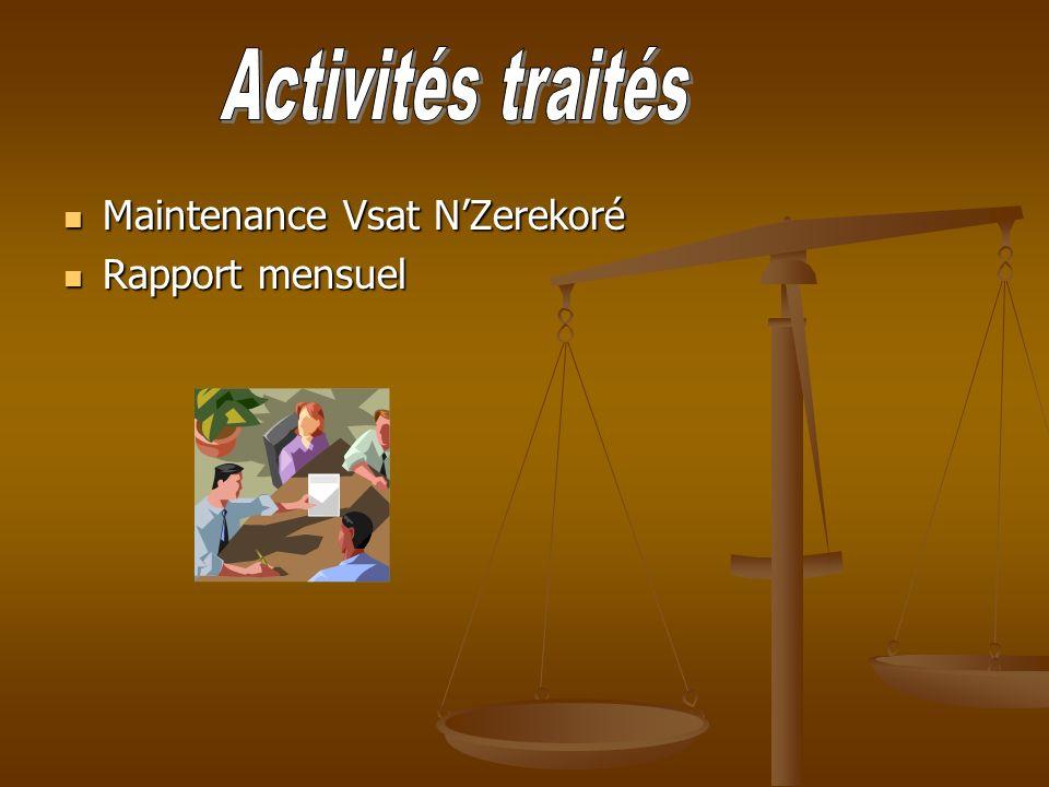 Maintenance Vsat NZerekoré Maintenance Vsat NZerekoré Rapport mensuel Rapport mensuel
