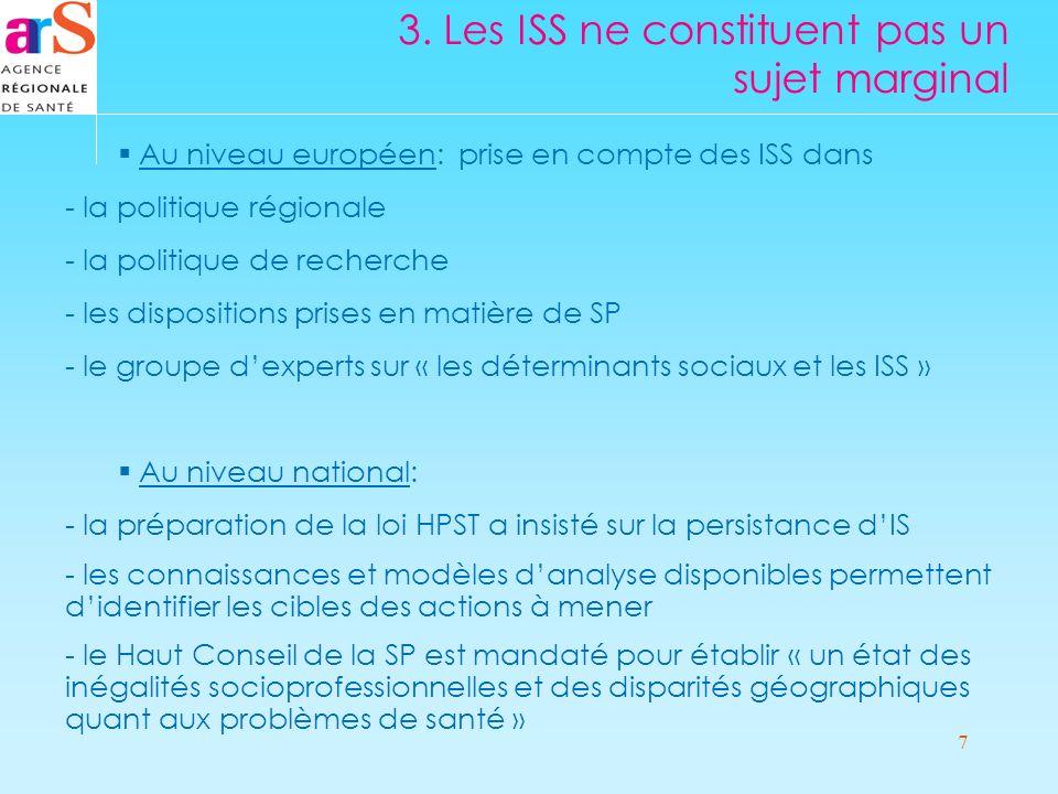 7 3. Les ISS ne constituent pas un sujet marginal Au niveau européen: prise en compte des ISS dans - la politique régionale - la politique de recherch