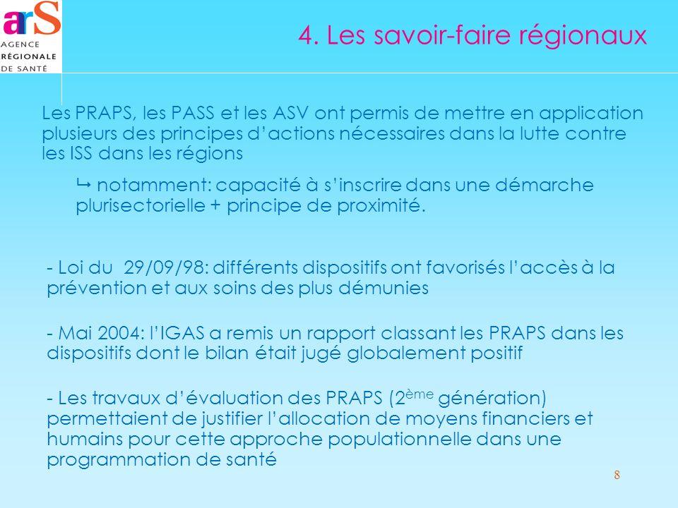 8 Les PRAPS, les PASS et les ASV ont permis de mettre en application plusieurs des principes dactions nécessaires dans la lutte contre les ISS dans les régions notamment: capacité à sinscrire dans une démarche plurisectorielle + principe de proximité.