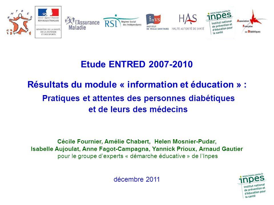 Etude ENTRED 2007-2010 Résultats du module « information et éducation » : Pratiques et attentes des personnes diabétiques et de leurs des médecins Céc