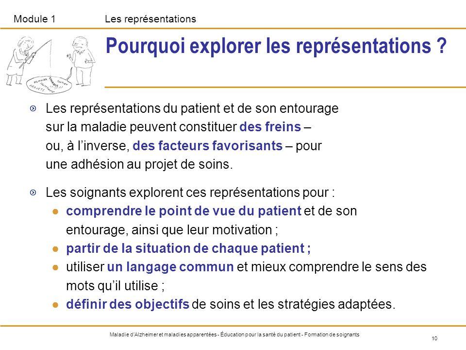 Module 1Les représentations 10 Maladie dAlzheimer et maladies apparentées - Éducation pour la santé du patient - Formation de soignants Pourquoi explo