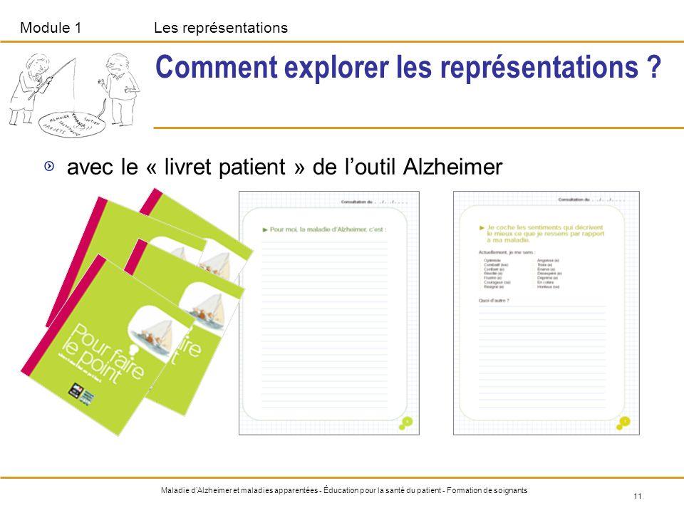 Module 1Les représentations 11 Maladie dAlzheimer et maladies apparentées - Éducation pour la santé du patient - Formation de soignants Comment explor