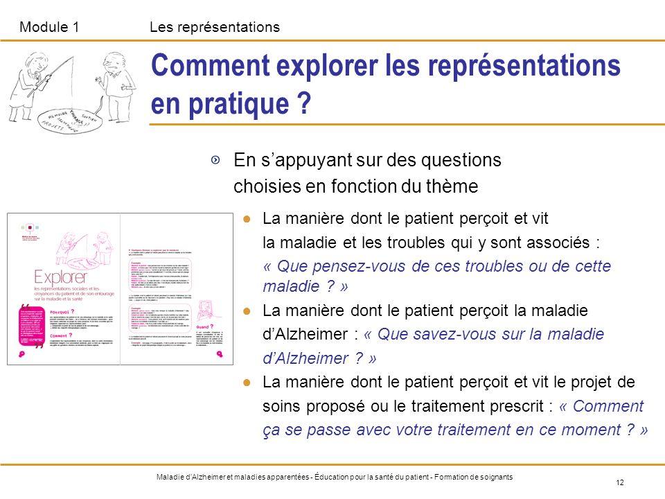 Module 1Les représentations 12 Maladie dAlzheimer et maladies apparentées - Éducation pour la santé du patient - Formation de soignants Comment explor