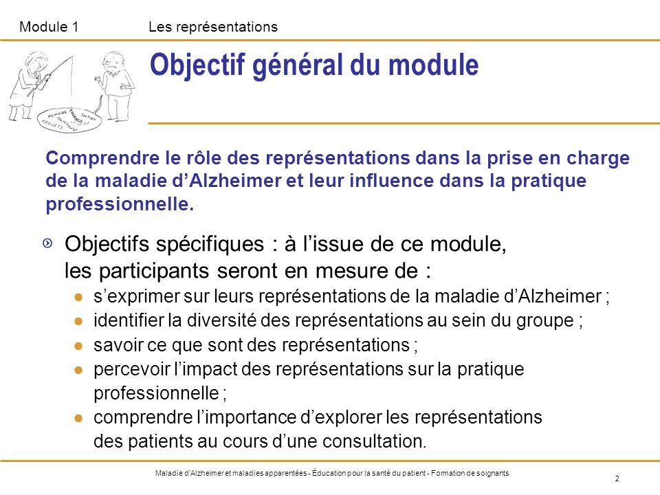 2 Maladie dAlzheimer et maladies apparentées - Éducation pour la santé du patient - Formation de soignants Objectif général du module Objectifs spécif
