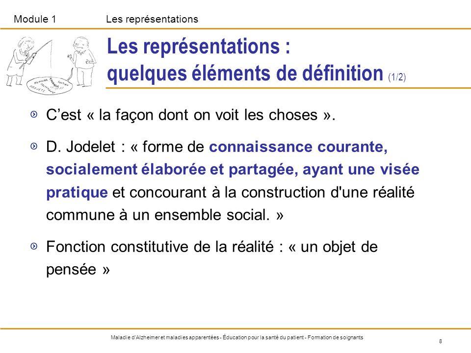 Module 1Les représentations 8 Maladie dAlzheimer et maladies apparentées - Éducation pour la santé du patient - Formation de soignants Les représentat