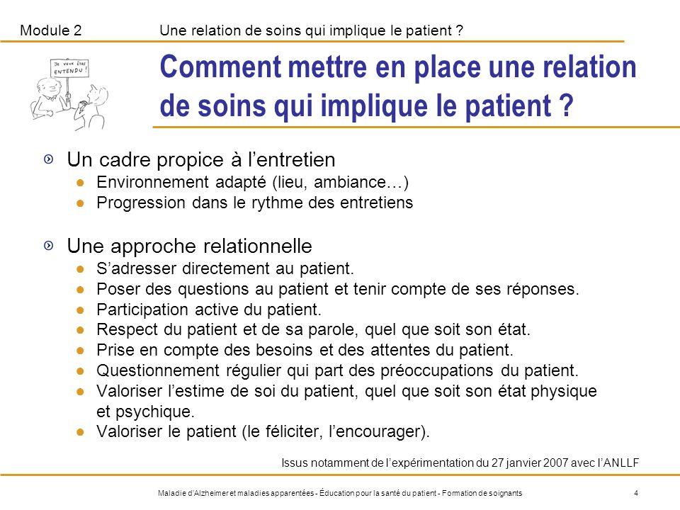 Module 2Une relation de soins qui implique le patient .