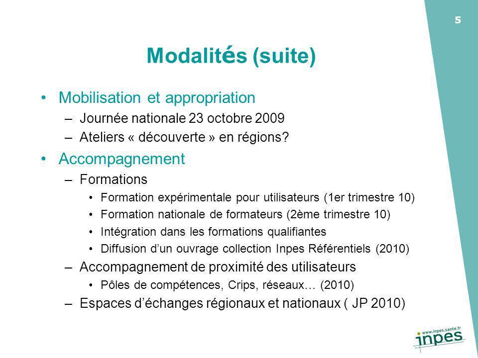 5 Modalit é s (suite) Mobilisation et appropriation –Journée nationale 23 octobre 2009 –Ateliers « découverte » en régions.
