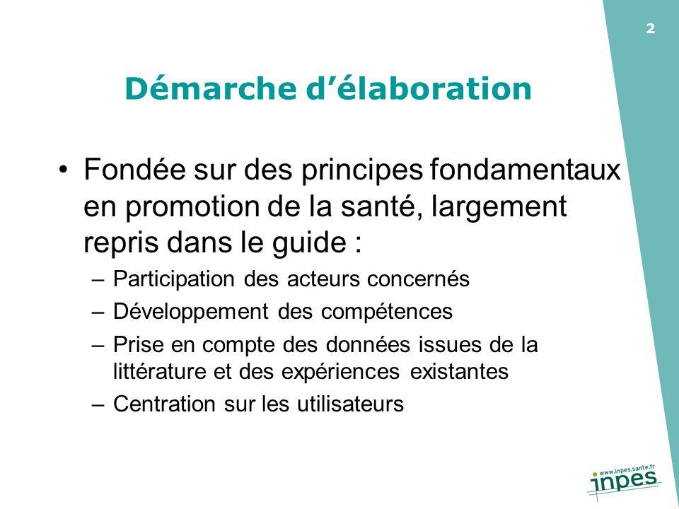 2 Démarche délaboration Fondée sur des principes fondamentaux en promotion de la santé, largement repris dans le guide : –Participation des acteurs co