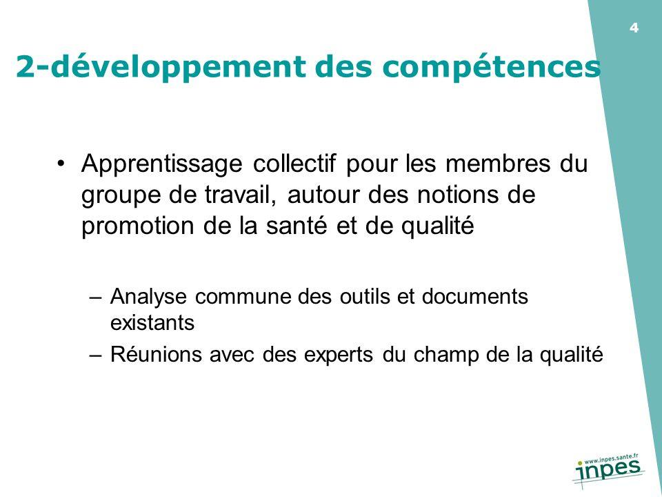 4 2-développement des compétences Apprentissage collectif pour les membres du groupe de travail, autour des notions de promotion de la santé et de qua