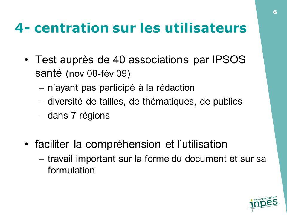 6 4- centration sur les utilisateurs Test auprès de 40 associations par IPSOS santé (nov 08-fév 09) –nayant pas participé à la rédaction –diversité de