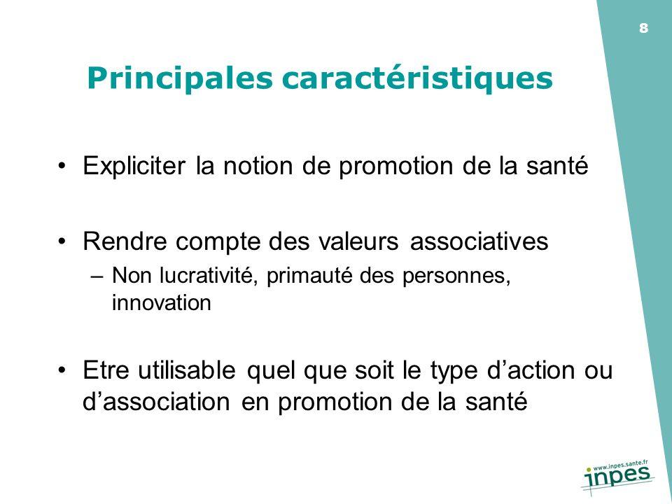 8 Principales caractéristiques Expliciter la notion de promotion de la santé Rendre compte des valeurs associatives –Non lucrativité, primauté des per