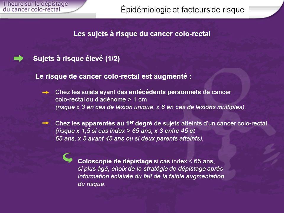 Épidémiologie et facteurs de risque Les sujets à risque du cancer colo-rectal Chez les sujets ayant des antécédents personnels de cancer colo-rectal o