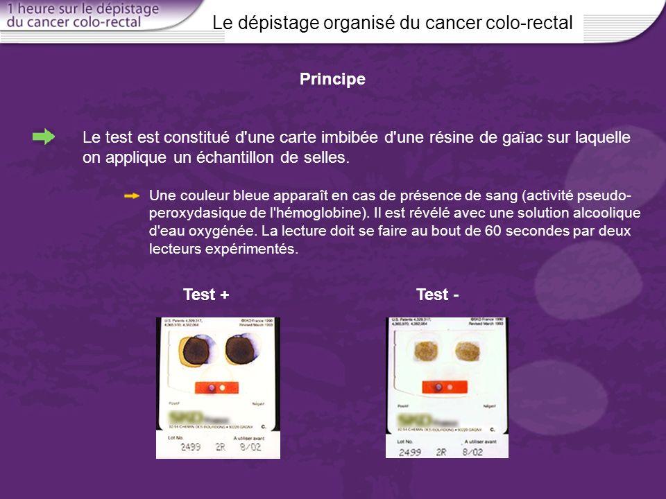 Le dépistage organisé du cancer colo-rectal Principe Le test est constitué d'une carte imbibée d'une résine de gaïac sur laquelle on applique un échan
