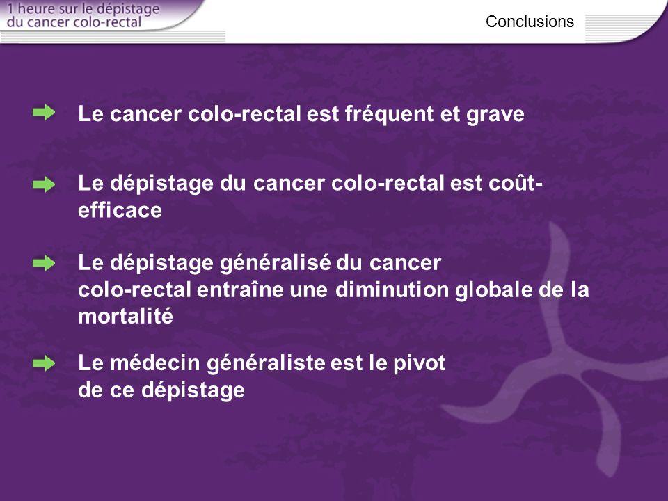 Le dépistage du cancer colo-rectal est coût- efficace Conclusions Le dépistage généralisé du cancer colo-rectal entraîne une diminution globale de la