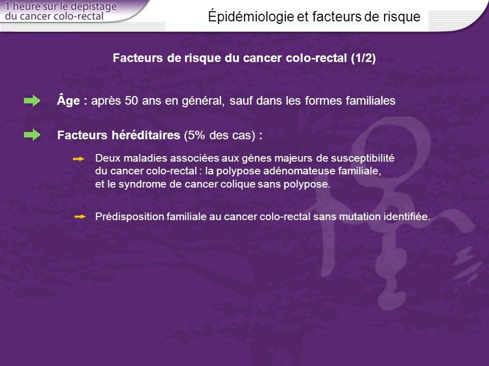 Épidémiologie et facteurs de risque Facteurs de risque du cancer colo-rectal (1/2) Âge : après 50 ans en général, sauf dans les formes familiales Fact