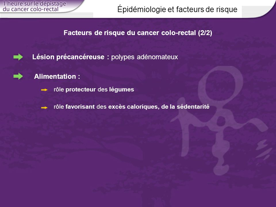 Épidémiologie et facteurs de risque Facteurs de risque du cancer colo-rectal (2/2) Lésion précancéreuse : polypes adénomateux Alimentation : rôle prot