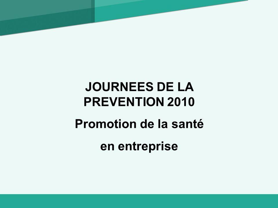 JOURNEES DE LA PREVENTION 2010 Promotion de la santé en entreprise