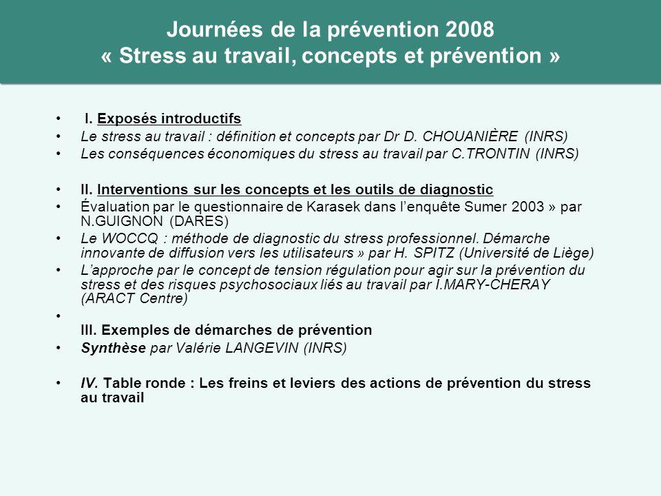 Journées de la prévention 2008 « Stress au travail, concepts et prévention » I. Exposés introductifs Le stress au travail : définition et concepts par