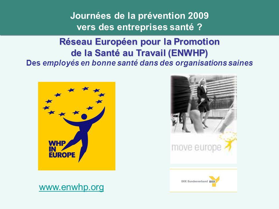 Journées de la prévention 2009 vers des entreprises santé ? Réseau Européen pour la Promotion de la Santé au Travail (ENWHP) Des employés en bonne san