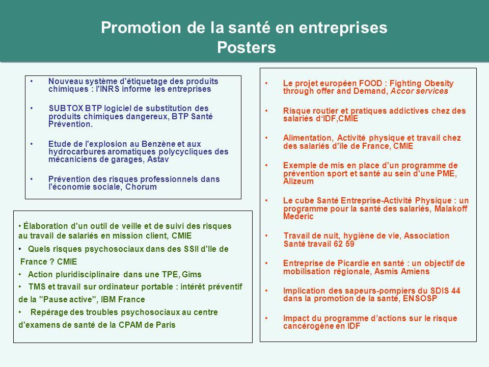 Promotion de la santé en entreprises Posters Nouveau système d'étiquetage des produits chimiques : l'INRS informe les entreprises SUBTOX BTP logiciel