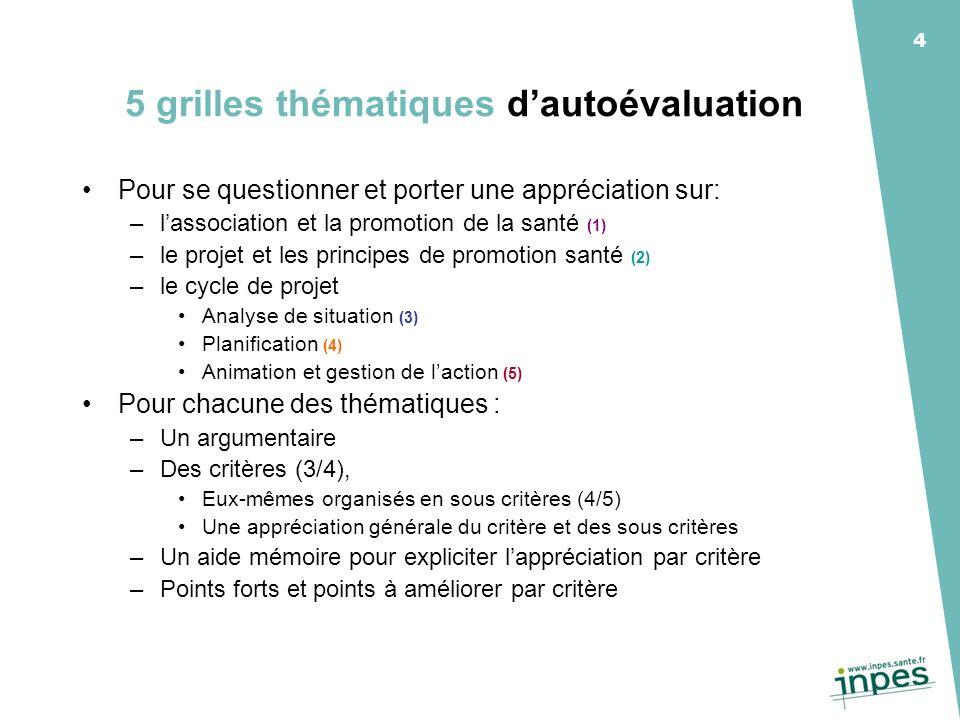 4 5 grilles thématiques dautoévaluation Pour se questionner et porter une appréciation sur: –lassociation et la promotion de la santé (1) –le projet e