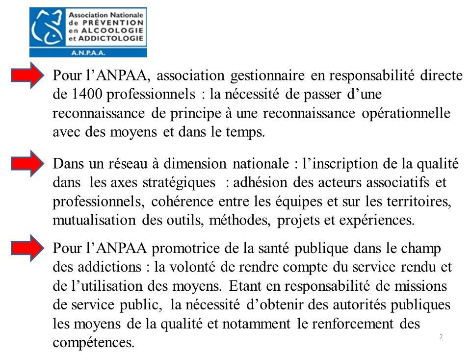 2 Pour lANPAA, association gestionnaire en responsabilité directe de 1400 professionnels : la nécessité de passer dune reconnaissance de principe à une reconnaissance opérationnelle avec des moyens et dans le temps.