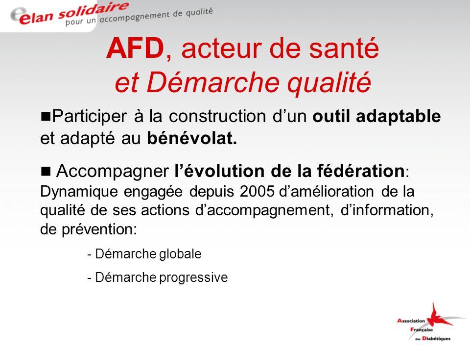 AFD, acteur de santé et Démarche qualité Participer à la construction dun outil adaptable et adapté au bénévolat.