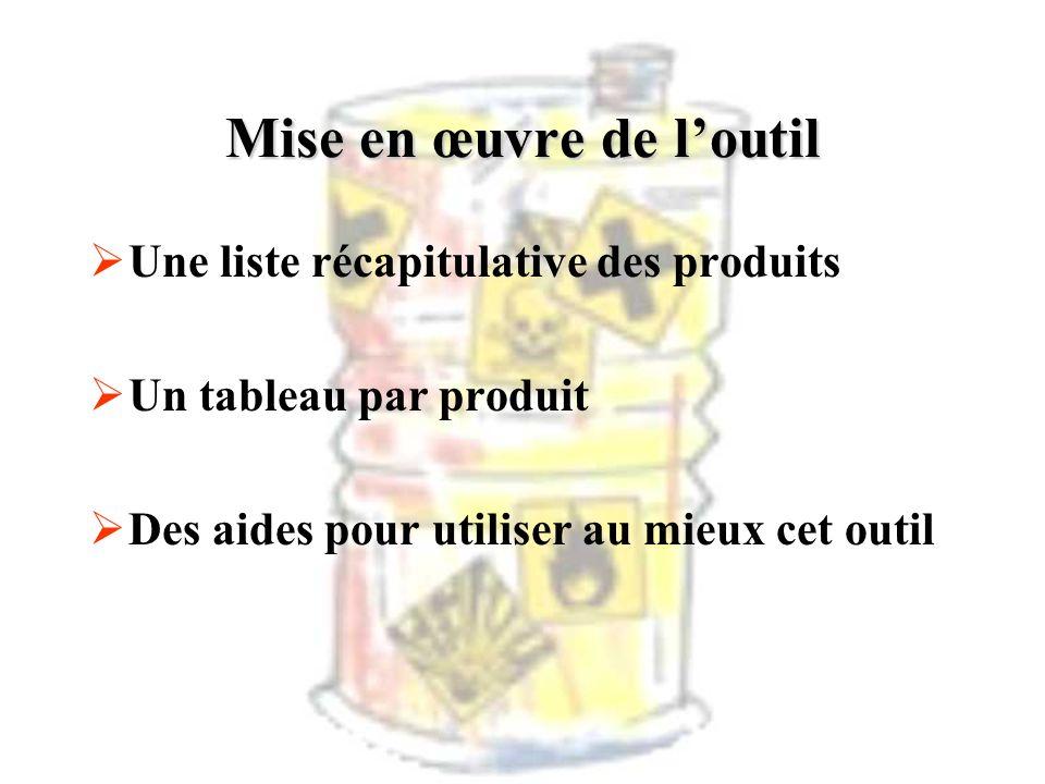 Mise en œuvre de loutil Une liste récapitulative des produits Un tableau par produit Des aides pour utiliser au mieux cet outil