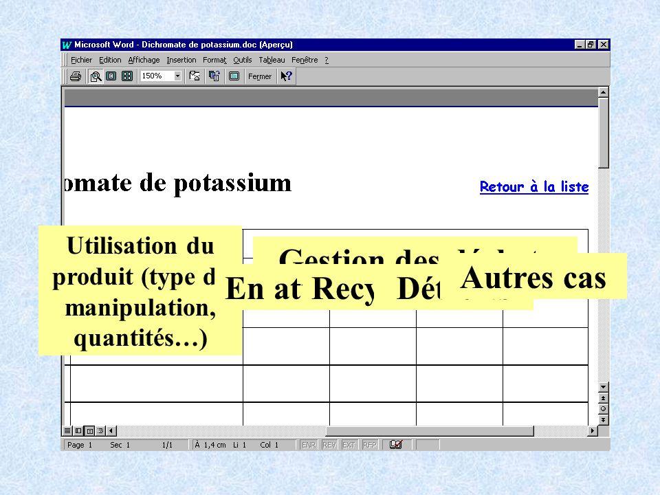 Utilisation du produit (type de manipulation, quantités…) Gestion des déchets En attenteRecyclésDétruits Autres cas
