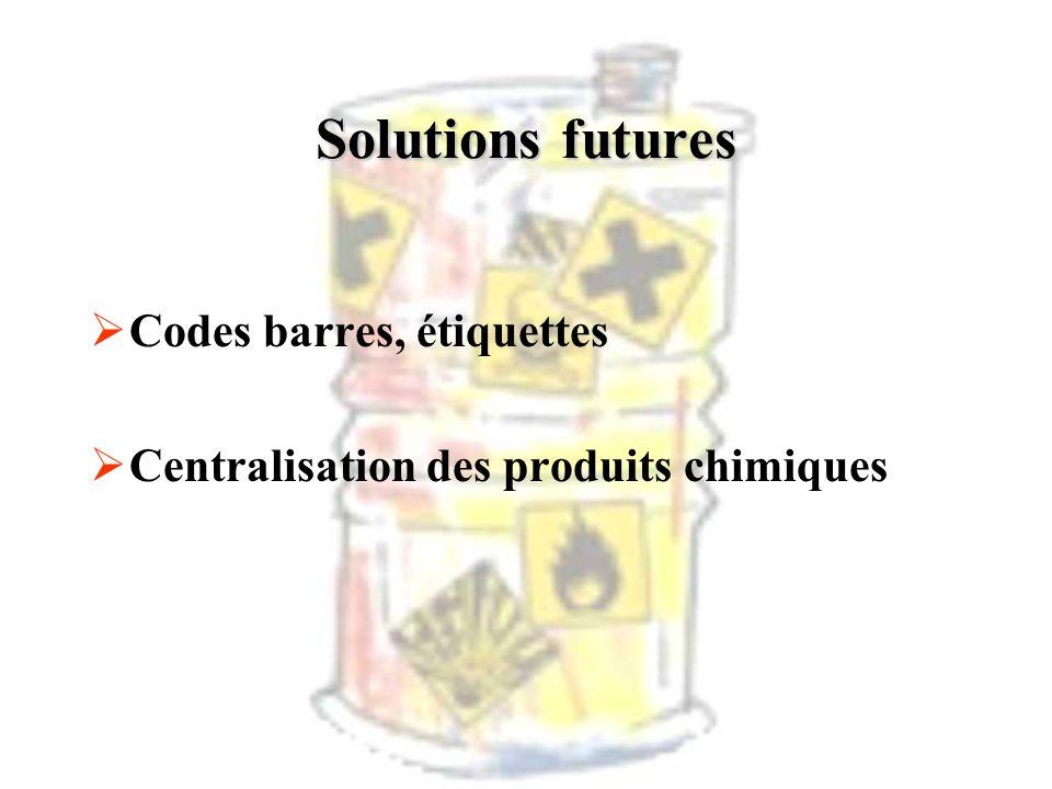 Solutions futures Codes barres, étiquettes Centralisation des produits chimiques