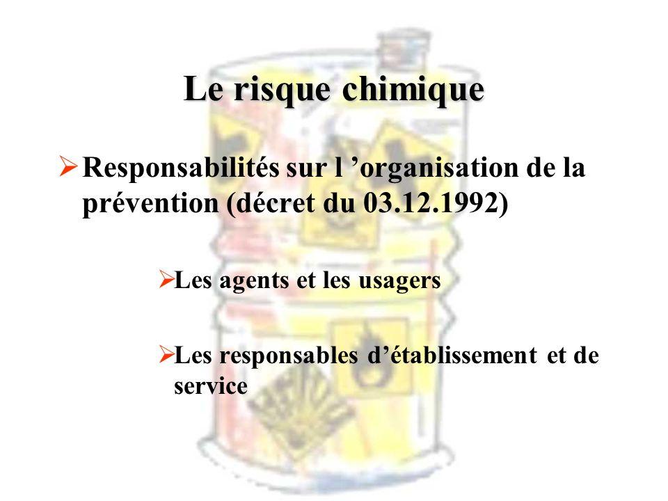 Le risque chimique Responsabilités sur l organisation de la prévention (décret du 03.12.1992) Les agents et les usagers Les responsables détablissemen