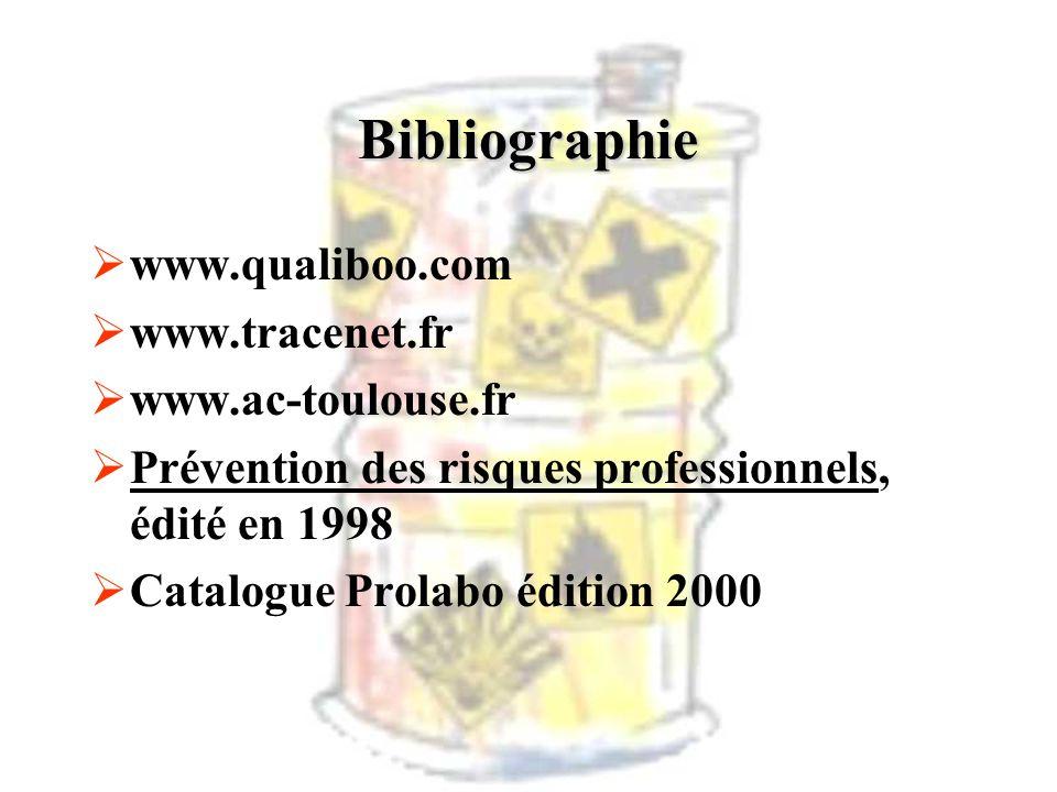 www.qualiboo.com www.tracenet.fr www.ac-toulouse.fr Prévention des risques professionnels, édité en 1998 Catalogue Prolabo édition 2000 Bibliographie