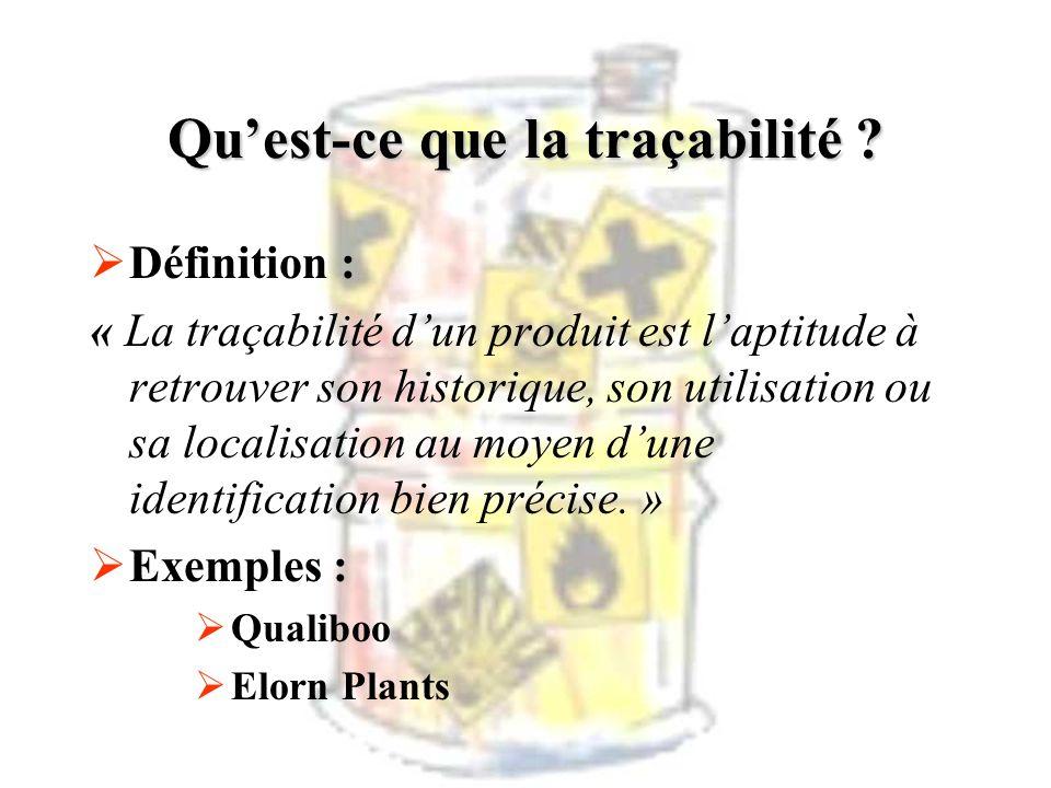 Quest-ce que la traçabilité ? Définition : « La traçabilité dun produit est laptitude à retrouver son historique, son utilisation ou sa localisation a