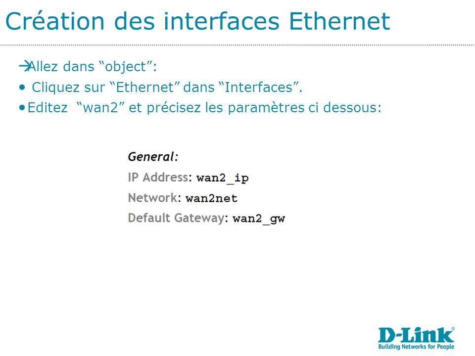 Création des interfaces Ethernet Allez dans object: Cliquez sur Ethernet dans Interfaces.