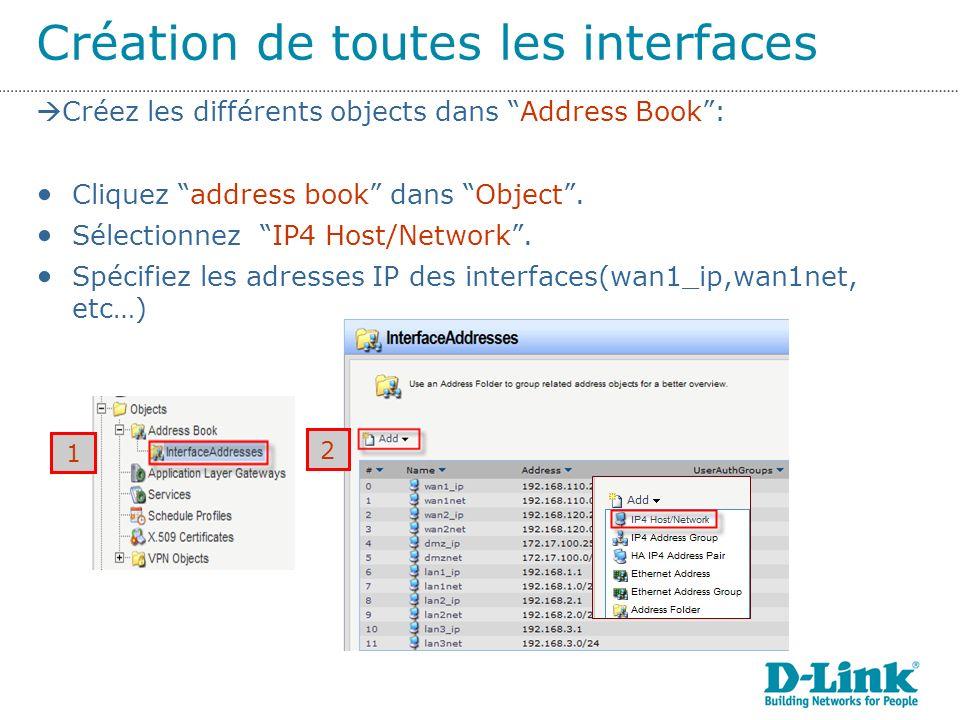 Création de toutes les interfaces 1 2 Créez les différents objects dans Address Book: Cliquez address book dans Object.